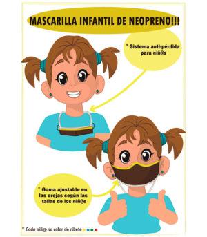MASCARILLA INFANTIL DE NEOPRENO reutilizable